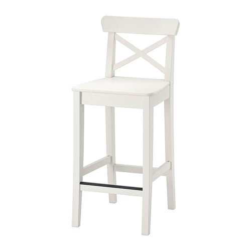 Ingolf Bar Stool With Backrest White