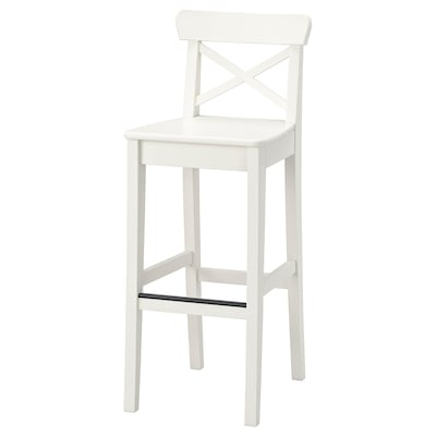 INGOLF Bar stool with backrest, white, 74 cm