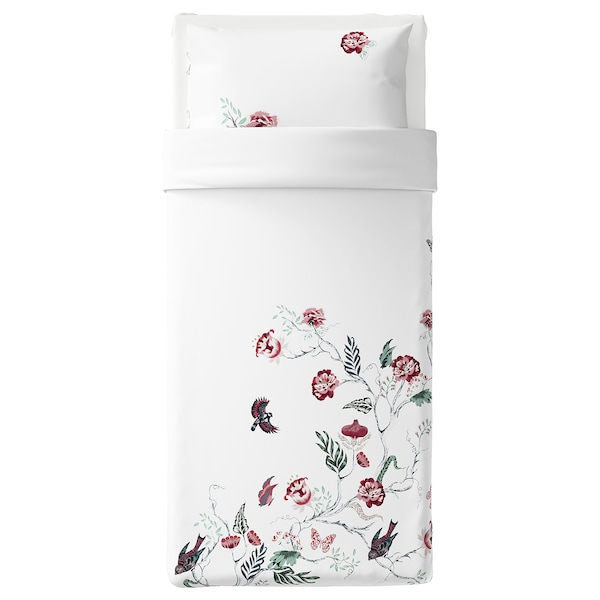 JÄTTELILJA Quilt cover and pillowcase, white/floral patterned, 150x200/50x80 cm