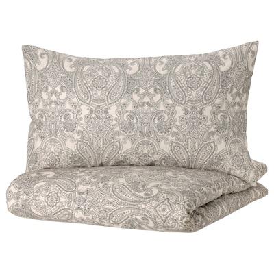 JÄTTEVALLMO Duvet cover and 2 pillowcases, beige/dark grey, 240x220/50x80 cm