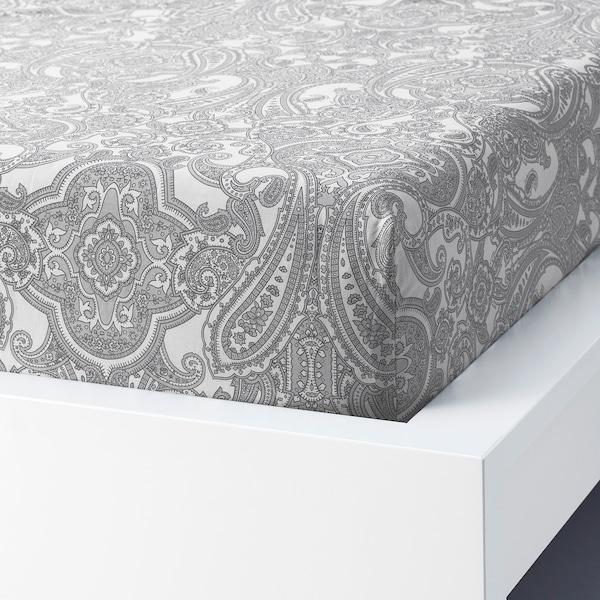 JÄTTEVALLMO Fitted sheet, white/grey, 160x200 cm