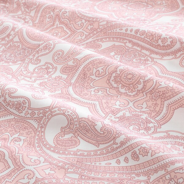 JÄTTEVALLMO Fitted sheet, white/pink, 160x200 cm