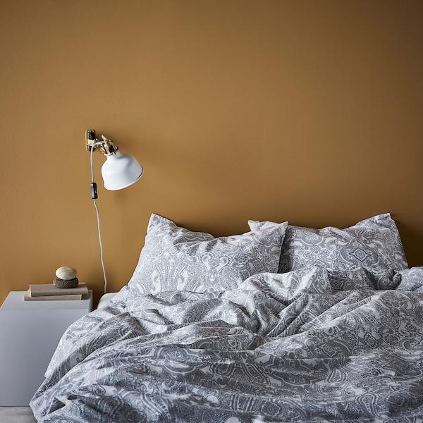 JÄTTEVALLMO غطاء لحاف/2كيس مخدة, أبيض/رمادي, 240x220/50x80 سم