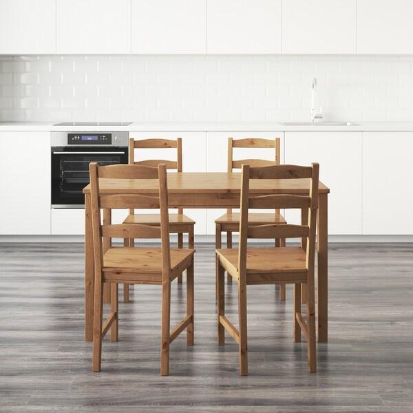 JOKKMOKK طاولة و4 كراسي, طلاء معتّق