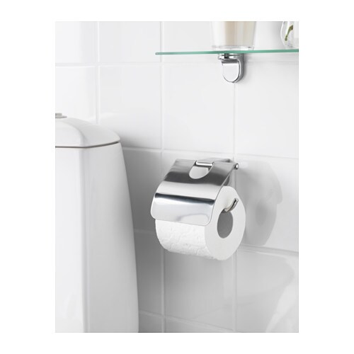 KALKGRUND Toilet roll holder   Easy to clean since the surface is clear lacquered.  No visible screws, as the fixings are concealed.