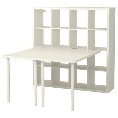 KALLAX تشكيلة مكتب, أبيض, 147x147x159 سم