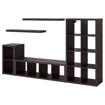 KALLAX / LACK Storage combination with 2 shelves, black-brown, 266x39x147 cm