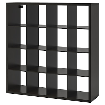 KALLAX وحدة أرفف, أسود-بني, 147x147 سم