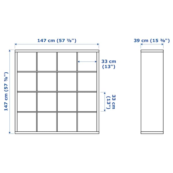 KALLAX Shelving unit with 4 inserts, white/white stained oak effect, 147x147 cm
