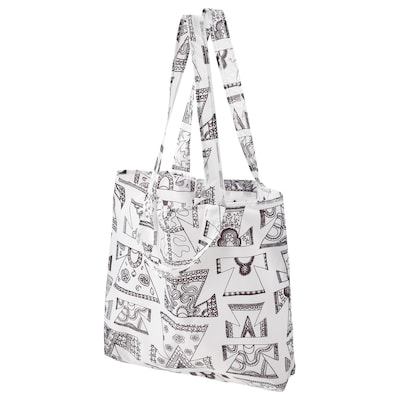 KARISMATISK Carrier bag, white/black, 15 l
