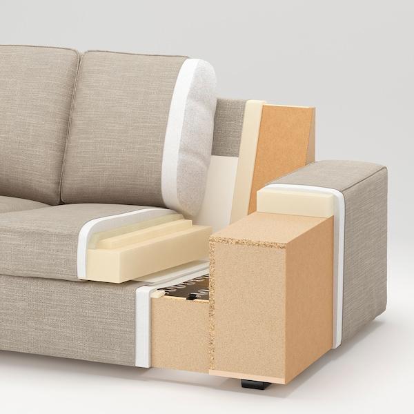 KIVIK كنبة 3 مقاعد, مع أريكة طويلة/Hillared بيج