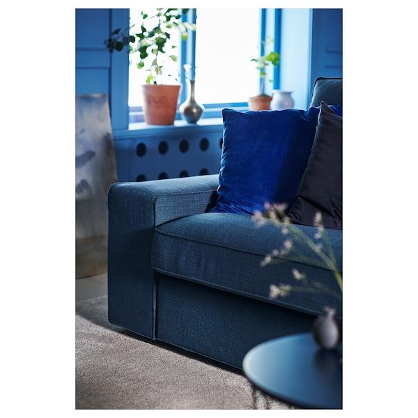 KIVIK كنبة 3 مقاعد, مع أريكة طويلة/Hillared أزرق غامق
