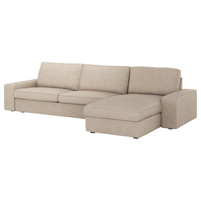 KIVIK كنبة 4 مقاعد, مع أريكة طويلة/Hillared بيج