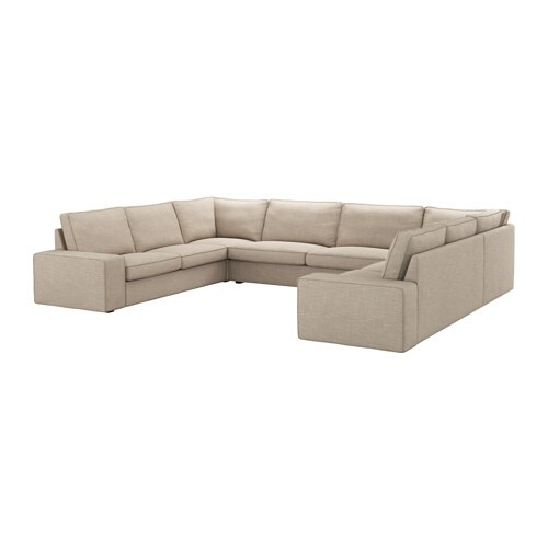kivik u shaped sofa 7 seat hillared beige ikea. Black Bedroom Furniture Sets. Home Design Ideas