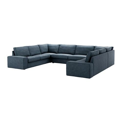 KIVIK U shaped sofa 7 seat 9 seater Hillared dark blue IKEA