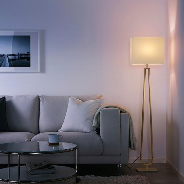 KLABB Floor lamp, off-white/brass-colour, 150 cm