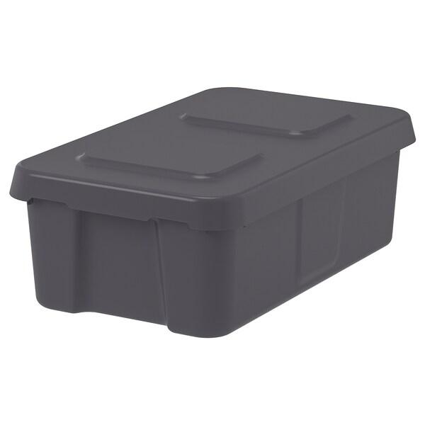 KLÄMTARE Box with lid, in/outdoor, dark grey, 27x45x15 cm