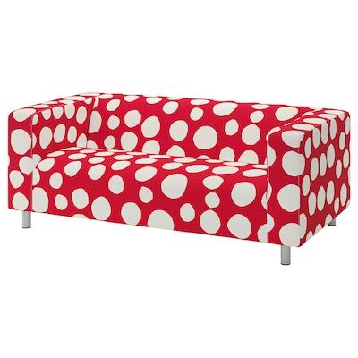 KLIPPAN غطاء كنبة مقعدين, Storvreta أحمر/أبيض