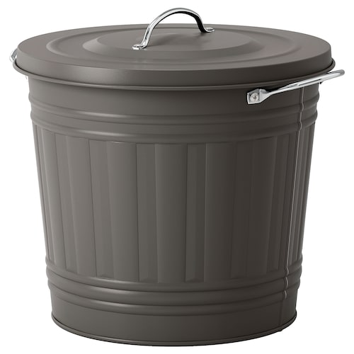 KNODD bin with lid grey 32 cm 34 cm 16 l