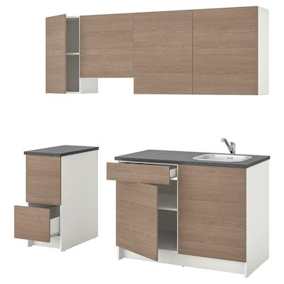 KNOXHULT Kitchen, wood effect grey, 220x61x220 cm