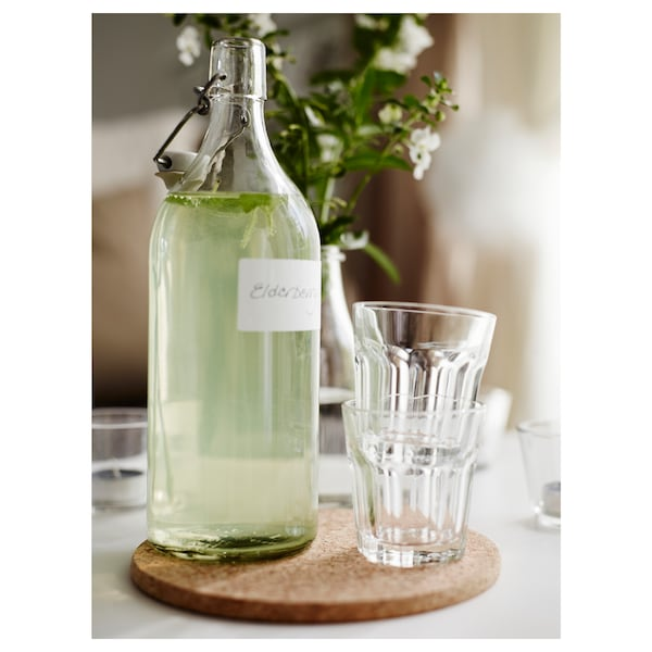 KORKEN Bottle with stopper, clear glass, 1 l