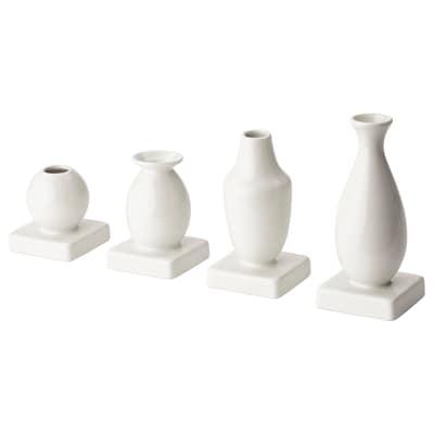 KRINGGÅ Vase, set of 4, white