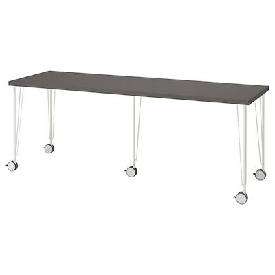 LAGKAPTEN / KRILLE Desk, dark grey/white, 200x60 cm