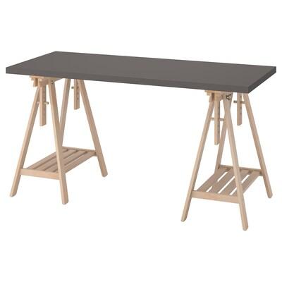 LAGKAPTEN / MITTBACK Desk, dark grey/birch, 140x60 cm