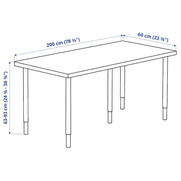 LAGKAPTEN / OLOV Desk, dark grey/white, 200x60 cm