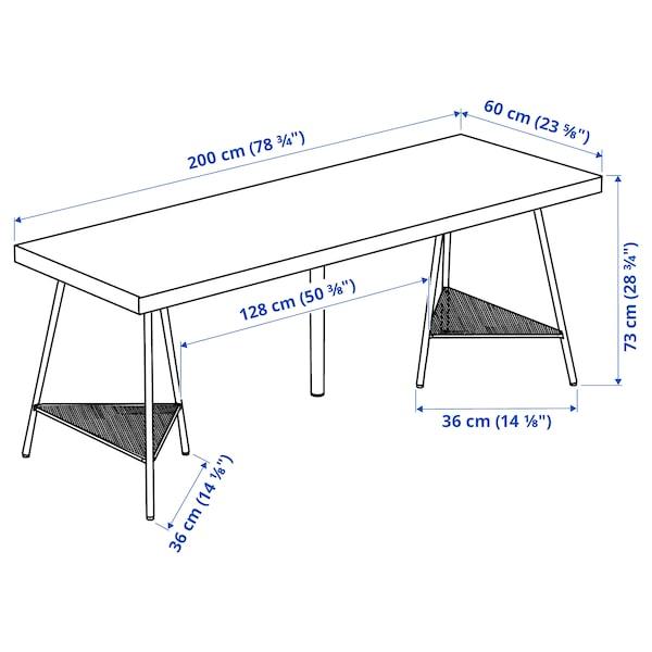 LAGKAPTEN / TILLSLAG Desk, dark grey/white, 200x60 cm