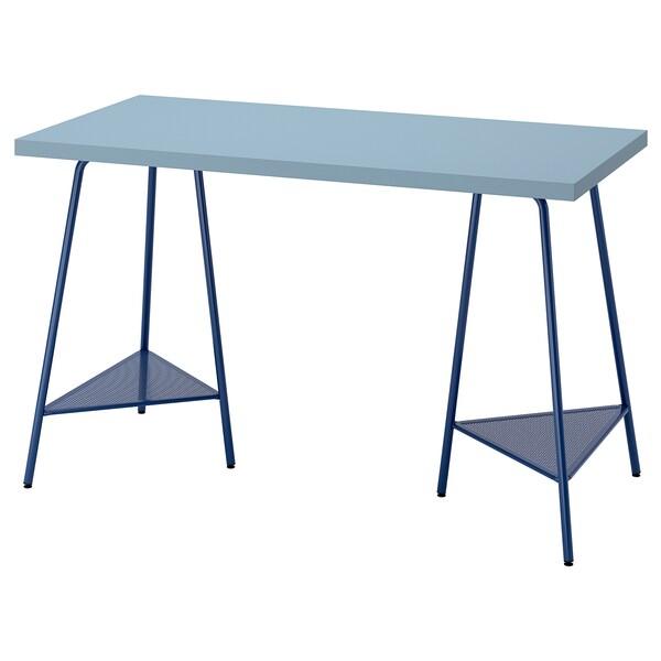 LAGKAPTEN / TILLSLAG Desk, light blue/dark blue, 120x60 cm