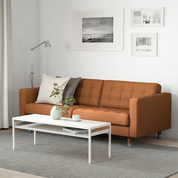 LANDSKRONA 3-seat sofa, Grann/Bomstad golden-brown/metal