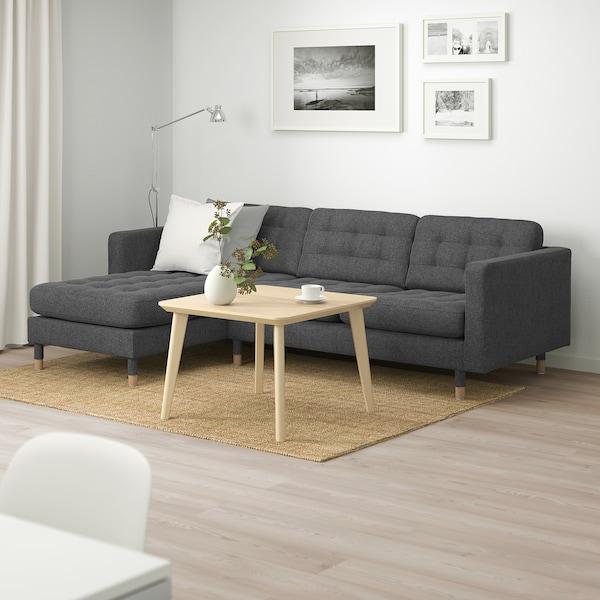 LANDSKRONA كنبة 3 مقاعد, مع أريكة طويلة/Gunnared رمادي غامق/خشبي