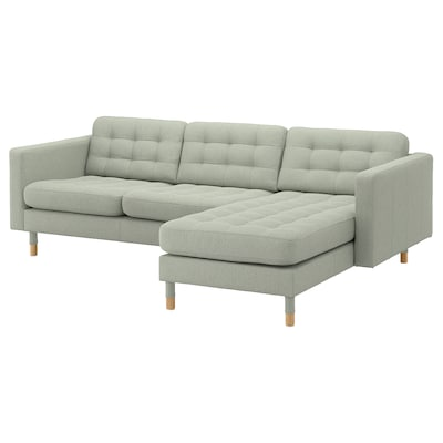 LANDSKRONA 3-seat sofa, with chaise longue/Gunnared light green/wood