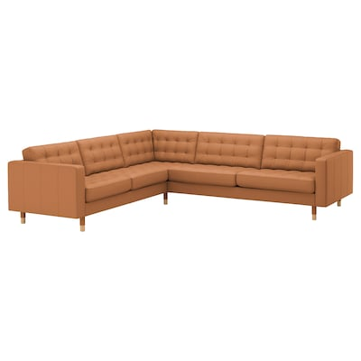 LANDSKRONA Corner sofa, 5-seat, Grann/Bomstad golden-brown/wood