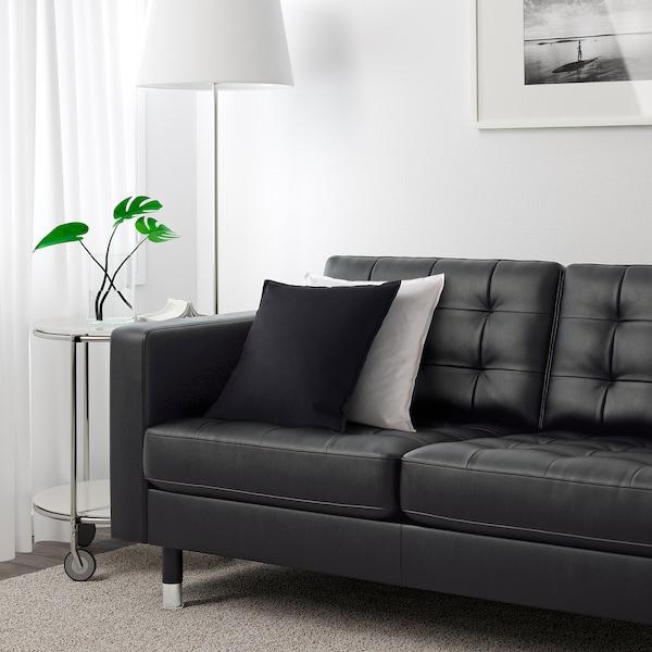 LANDSKRONA Three-seat sofa, Grann/Bomstad black/metal