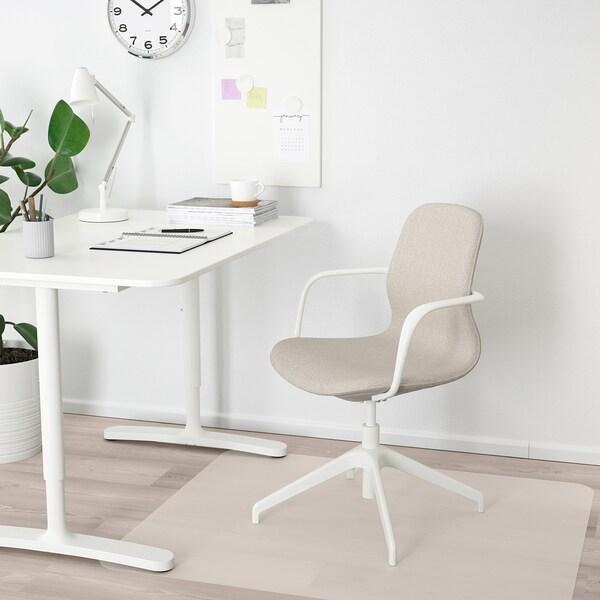 LÅNGFJÄLL كرسي اجتماعات بمساند ذراعين, Gunnared بيج/أبيض