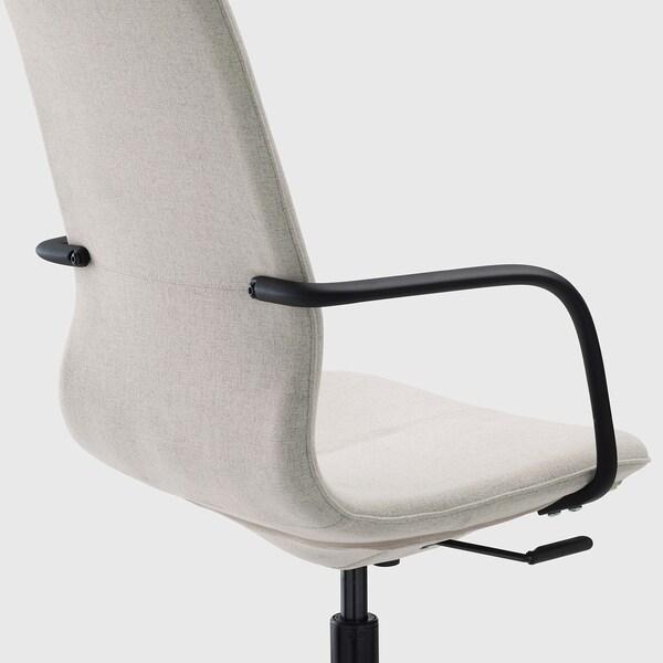 LÅNGFJÄLL كرسي مكتب بمساند ذراعين, Gunnared بيج/أسود