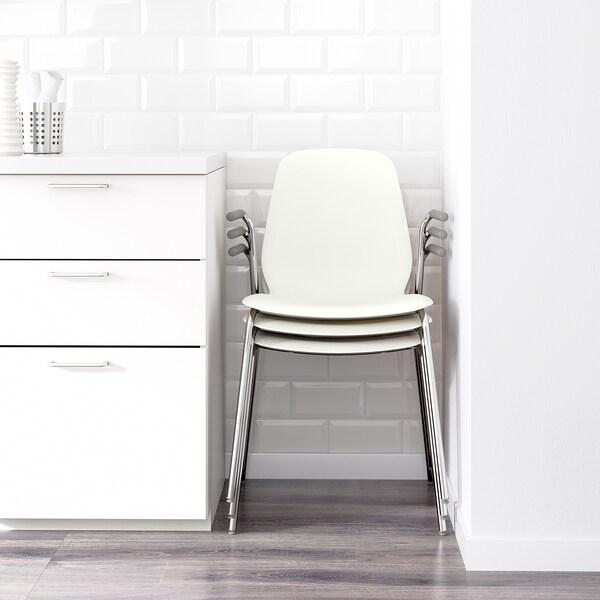LEIFARNE كرسي مع مساند للذراعين, أبيض/Dietmar طلاء كروم