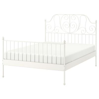 LEIRVIK Bed frame, white/Luröy, 140x200 cm