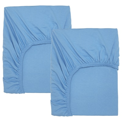 LEN Fitted sheet for cot, light blue, 60x120 cm
