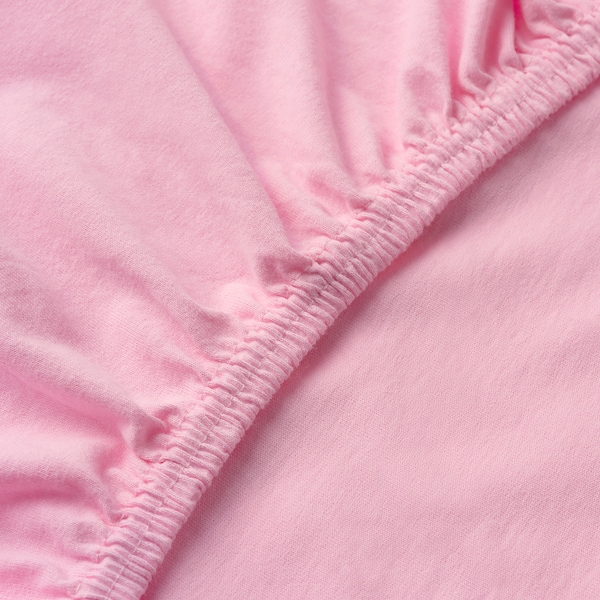 LEN Fitted sheet for ext bed, set of 2, pink