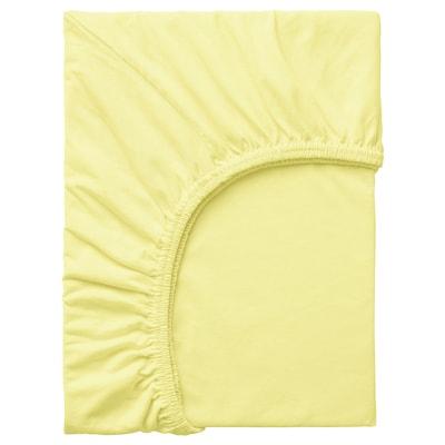 LEN Fitted sheet, yellow, 80x130 cm