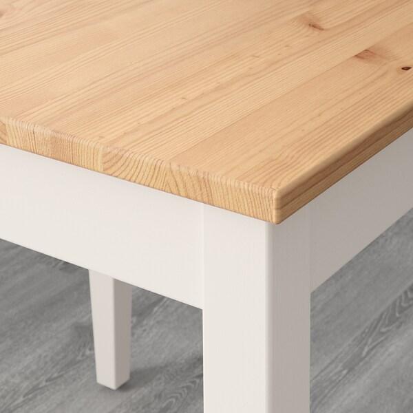 LERHAMN طاولة, طلاء تعتيق خفيف/صباغ أبيض, 118x74 سم