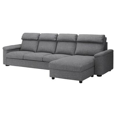 LIDHULT كنبة 4 مقاعد, مع أريكة طويلة/Lejde رمادي/أسود