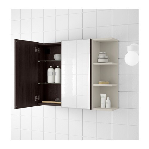 LILLÅNGEN Mirror cabinet 2 doors/1 end unit - black-brown/grey ...