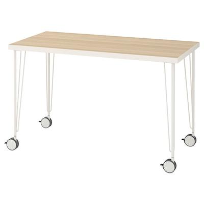 LINNMON / KRILLE طاولة, أبيض مظهر السنديان مصبوغ أبيض/أبيض, 120x60 سم