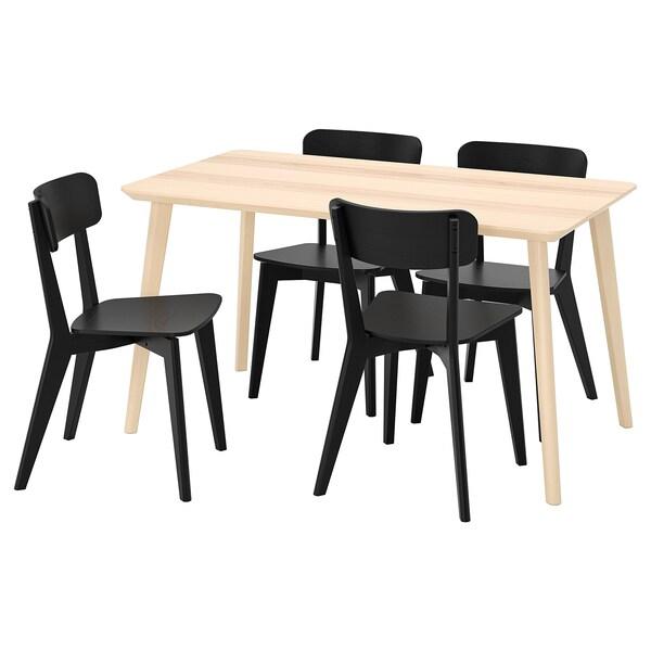 LISABO / LISABO طاولة و4 كراسي, قشرة خشب الدردار/أسود, 140x78 سم