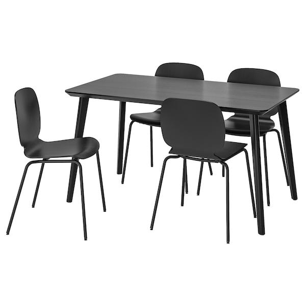 LISABO / SVENBERTIL طاولة و4 كراسي, أسود/أسود, 140x78 سم