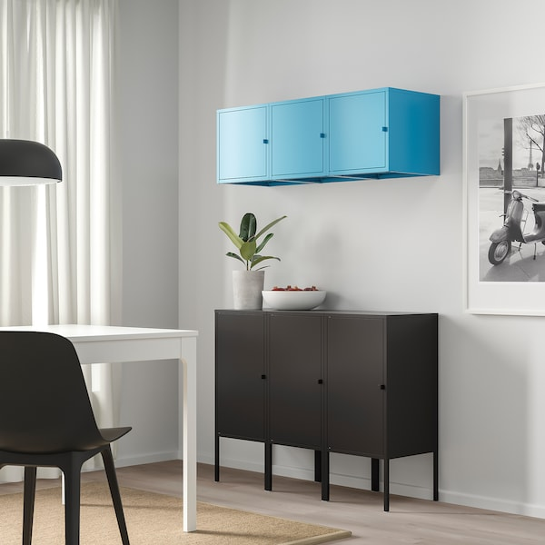 LIXHULT Storage combination, anthracite/blue, 105x35x117 cm